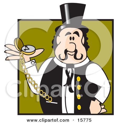 Punctual Train Conductor Or Showman Holding A Pocket Watch In His Hand Clipart Illustration by Andy Nortnik