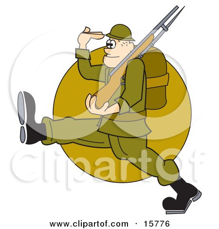 Army Soldier Marching With A Gun And Backpack While Saluting Clipart Illustration by Andy Nortnik