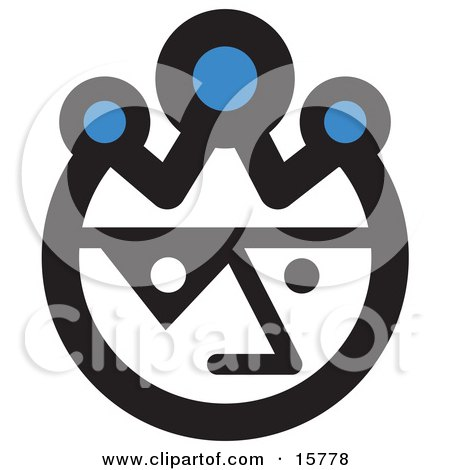 Joker Face With a Blue Hat Clipart Illustration by Andy Nortnik