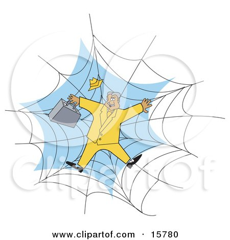 Businessman In A Yellow Suit, Stuck In A Spider Web Clipart Illustration by Andy Nortnik