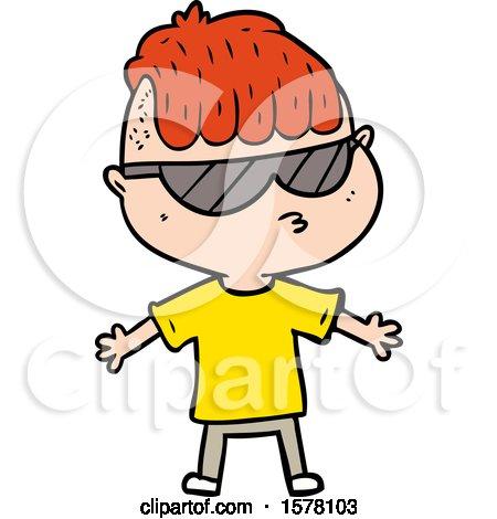 Cartoon Boy Wearing Sunglasses by lineartestpilot