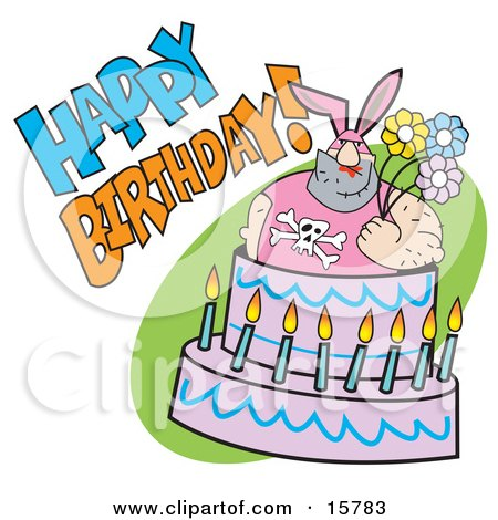 Big Hairy Man In A Bunny Suit, Holding Flowers And Popping Out Of A Birthday Cake Clipart Illustration by Andy Nortnik