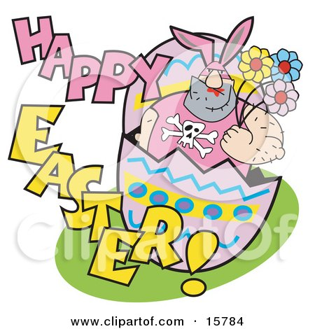 Big Hairy Man In A Bunny Suit, Holding Flowers And Popping Out Of An Easter Egg Clipart Illustration by Andy Nortnik