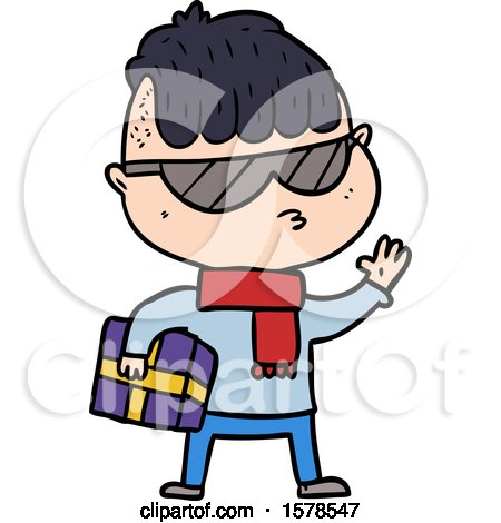 Cartoon Boy Wearing Sunglasses Carrying Xmas Gift by lineartestpilot