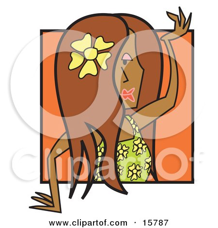 Attractive Female Hula Dancer With A Flower In Her Hair Posters, Art Prints