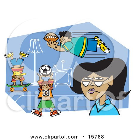 Tired Woman Watching As Her Hyper Kids Play Sports In The House Clipart Illustration by Andy Nortnik