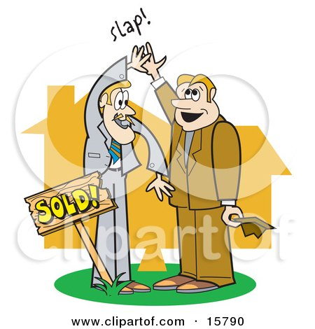 Couple Of Male Real Estate Agents Giving Eachother A High Five After Selling A House Clipart Illustration by Andy Nortnik