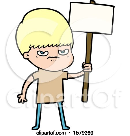Angry Cartoon Boy Protesting by lineartestpilot