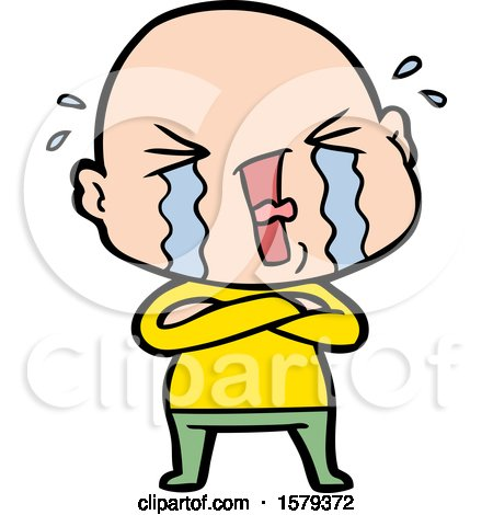 Cartoon Crying Bald Man by lineartestpilot