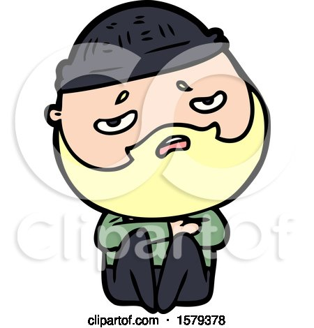 Cartoon Worried Man with Beard by lineartestpilot