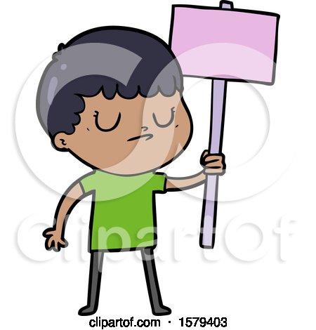 Cartoon Grumpy Boy with Placard by lineartestpilot