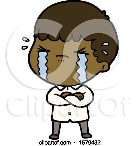Cartoon Man Crying by lineartestpilot
