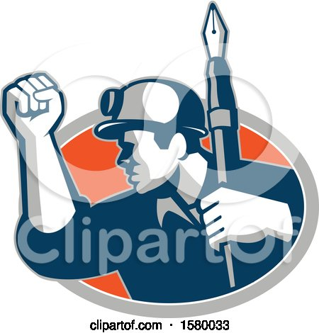 Clipart of a Retro Male Miner Holding up a Fountain Pen and a Fist and Emerging from an Oval - Royalty Free Vector Illustration by patrimonio