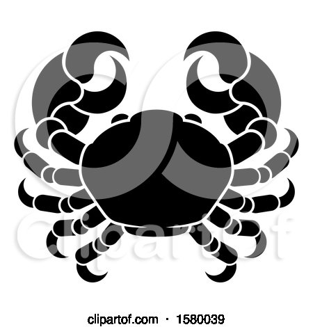 Clipart of a Zodiac Horoscope Astrology Cancer Crab Design, Black and White - Royalty Free Vector Illustration by AtStockIllustration