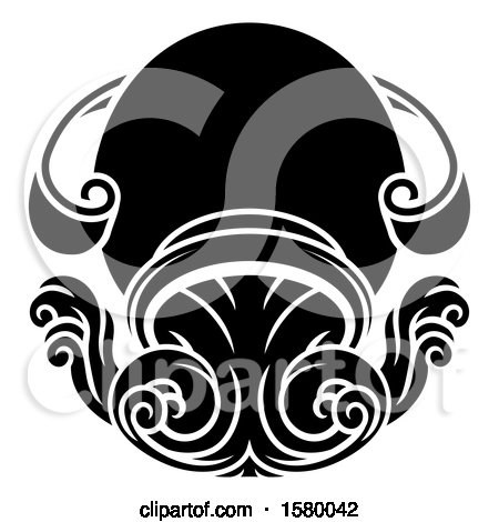 Clipart of a Zodiac Horoscope Astrology Aquarius Design, Black and White - Royalty Free Vector Illustration by AtStockIllustration