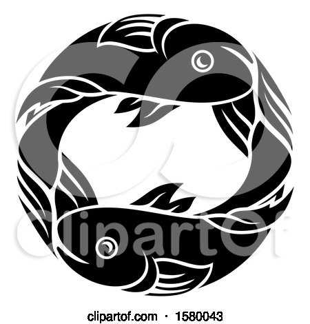 Clipart of a Zodiac Horoscope Astrology Pisces Fish Circle Design in Black and White - Royalty Free Vector Illustration by AtStockIllustration