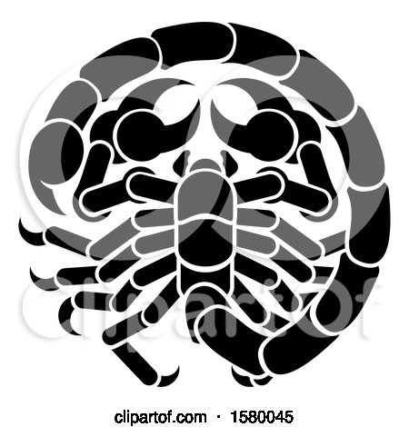 Clipart of a Zodiac Horoscope Astrology Scorpio Design in Black and White - Royalty Free Vector Illustration by AtStockIllustration