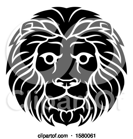 Clipart of a Black and White Male Lion Leo Head - Royalty Free Vector Illustration by AtStockIllustration