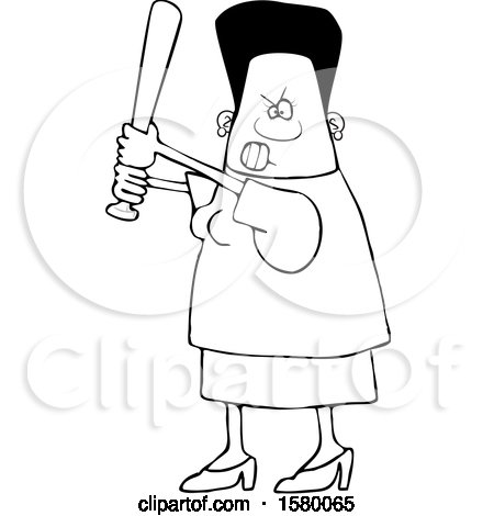 Clipart of a Cartoon Lineart Tough Black Woman Holding a Bat - Royalty Free Vector Illustration by djart