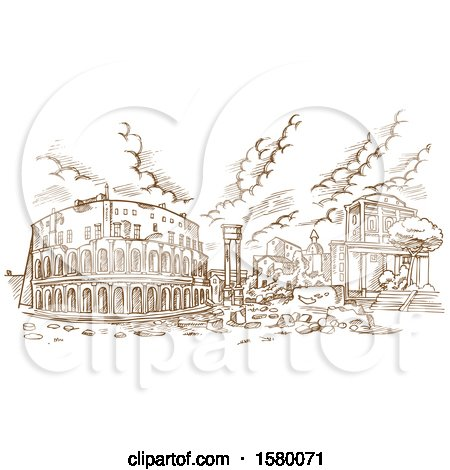 Clipart of a Sketched Scene of the Theatre of Marcellus in Rome, Italy - Royalty Free Vector Illustration by Domenico Condello