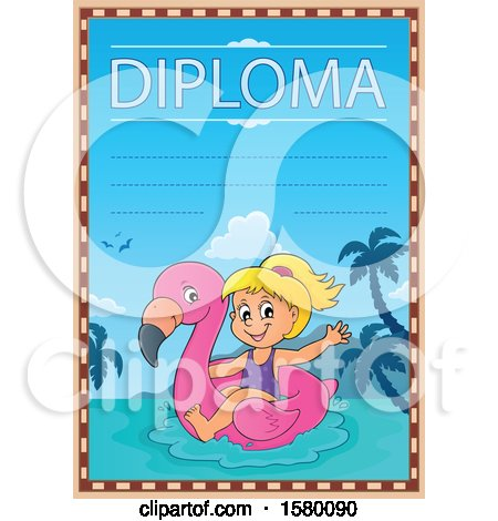 Clipart of a Diploma Design with a Girl on a Flamingo Swim Float - Royalty Free Vector Illustration by visekart
