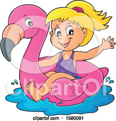 Clipart of a Girl on a Flamingo Swim Float - Royalty Free Vector Illustration by visekart