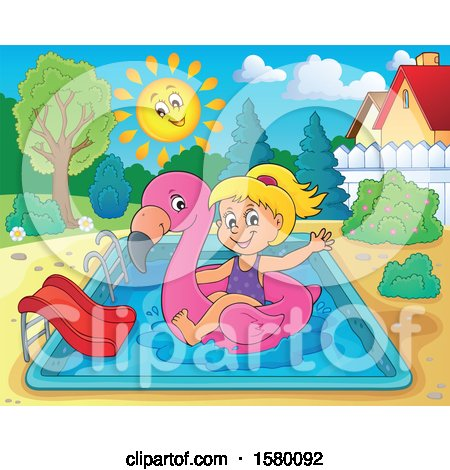 Clipart of a Girl on a Flamingo Swim Float in a Swimming Pool - Royalty Free Vector Illustration by visekart
