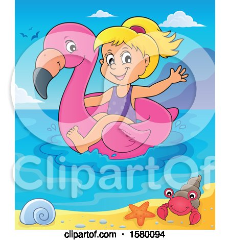 Clipart of a Girl on a Flamingo Swim Float in the Ocean - Royalty Free Vector Illustration by visekart