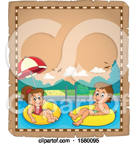 Clipart of a Parchment Boder of Children Foating on Inner Tubes - Royalty Free Vector Illustration by visekart