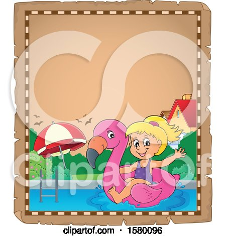 Clipart of a Parchment Border of a Girl on a Flamingo Swim Float - Royalty Free Vector Illustration by visekart