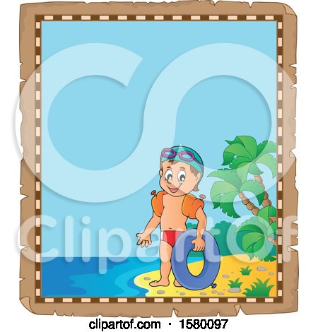 Clipart of a Parchment Border of a Boy with an Inner Tube on an Island Beach - Royalty Free Vector Illustration by visekart