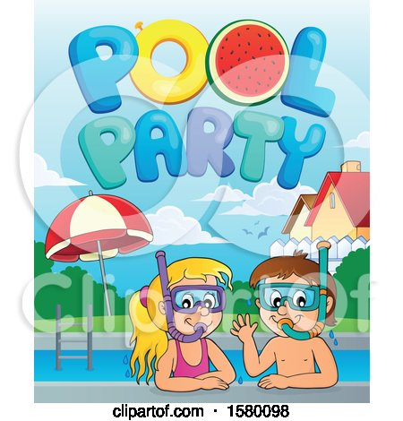 Clipart of a Boy and Girl Wearing Snorkel Masks Under Pool Party Text - Royalty Free Vector Illustration by visekart