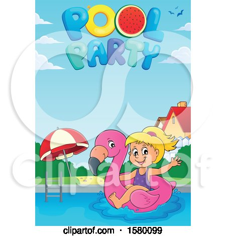 Clipart of a Girl on a Flamingo Swim Float Under Pool Party Text - Royalty Free Vector Illustration by visekart