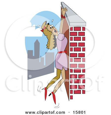 Damsel In Distress Hanging From A Wall High Above A City Clipart Illustration by Andy Nortnik