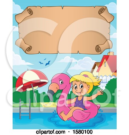 Clipart of a Parchment Scroll over a Girl on a Flamingo Swim Float in a Swimming Pool - Royalty Free Vector Illustration by visekart