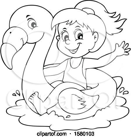 Clipart of a Black and White Girl on a Flamingo Swim Float - Royalty Free Vector Illustration by visekart