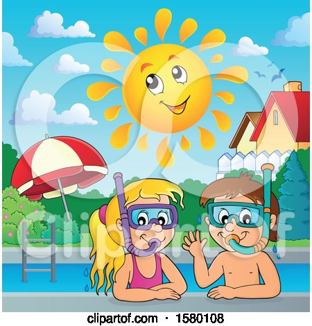 Clipart of a Boy and Girl Wearing Snorkel Masks Under a Happy Sun - Royalty Free Vector Illustration by visekart