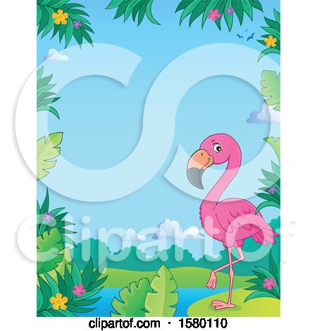 Clipart of a Border with a Pink Flamingo Bird - Royalty Free Vector Illustration by visekart