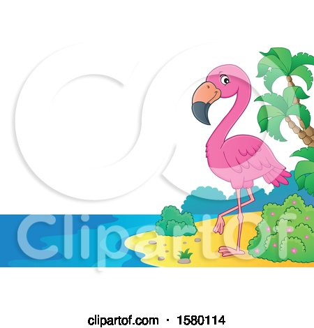 Clipart of a Pink Flamingo Bird on a Beach - Royalty Free Vector Illustration by visekart