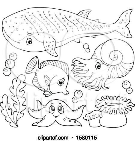 Clipart of Black and White Cute Sea Creatures - Royalty Free Vector Illustration by visekart