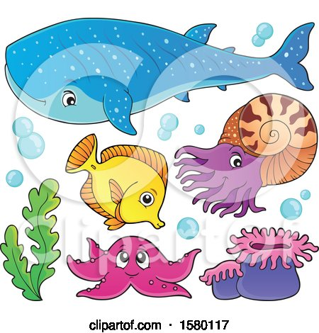 Clipart of Cute Sea Creatures - Royalty Free Vector Illustration by visekart