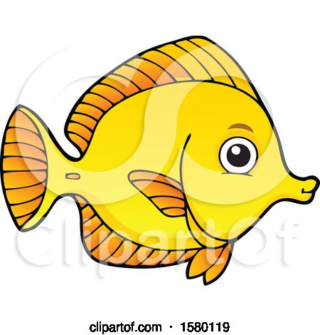 Clipart of a Cute Yellow Tang Fish - Royalty Free Vector Illustration by visekart