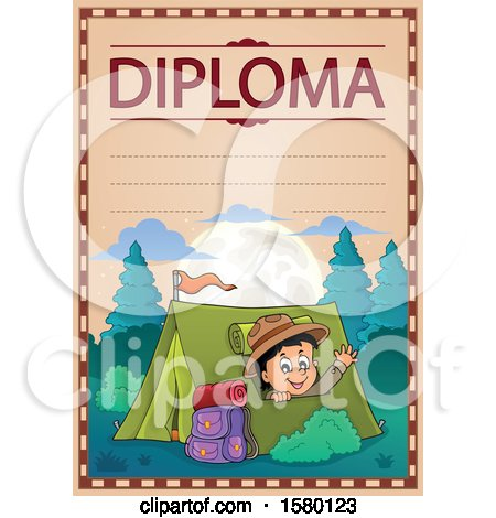 Clipart of a Diploma with a Scout Boy Camping and Waving from a Tent - Royalty Free Vector Illustration by visekart