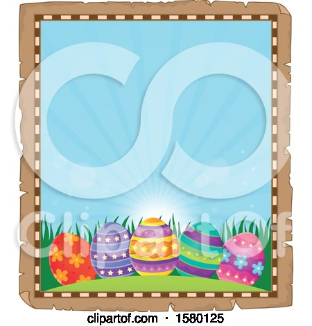 Clipart of a Parchment Boder of Easter Eggs - Royalty Free Vector Illustration by visekart