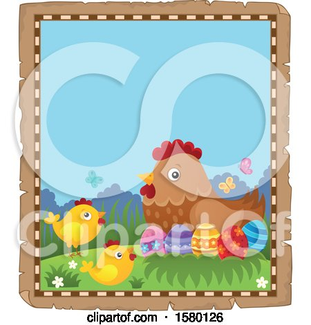 Clipart of a Parchment Border of Easter Eggs, Chicks, and a Hen - Royalty Free Vector Illustration by visekart