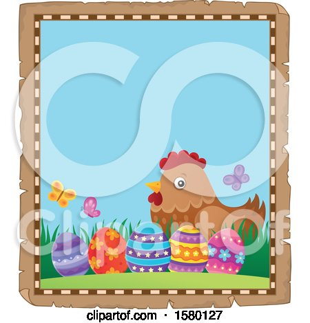Clipart of a Parchment Border of Easter Eggs and a Hen - Royalty Free Vector Illustration by visekart