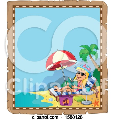 Clipart of a Parchment Border of a Girl Reading and Sun Bathing on a Beach - Royalty Free Vector Illustration by visekart