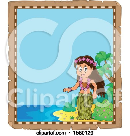 Clipart of a Parchment Border of a Hawaiian Hula Dancer on a Beach - Royalty Free Vector Illustration by visekart