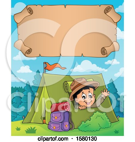 Clipart of a Parchment Scroll over a Scout Boy Camping and Waving from a Tent - Royalty Free Vector Illustration by visekart