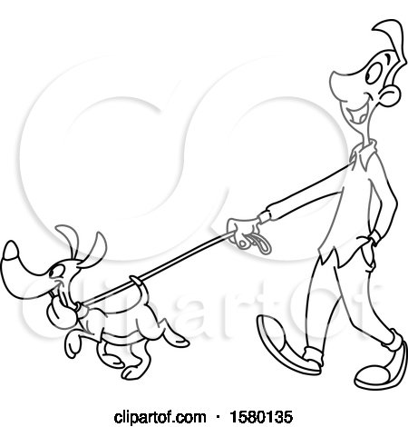 Clipart of a Cartoon Lineart Man Walking His Dog - Royalty Free Vector Illustration by yayayoyo